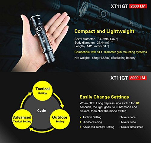 XT11GT tactical rechargeable flashlight